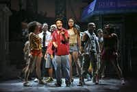 Lin-Manuel Miranda (center) as Uanavi in the musical <i>In the Heights</i> at the Richard Rodgers Theater in Manhattan, Feb. 13, 2008.  (File Photo/The New York Times)