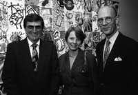From left: Frank Ribelin, Evelyn Stoffel and William Jordan in 1995 at the Meadows Museum (File Photo/Staff )