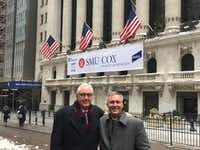 David Miller and his son, Kyle, stand in front of the New York Stock Exchange on Jan. 8 when SMU's Cox School of Business rang the closing bell.(SMU)
