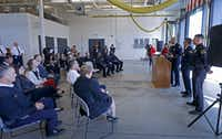 Officials from Dallas Fire-Rescue, the Meadows Mental Health Policy Institute, Dallas police and Parkland Health & Hospital System announced the RIGHT Care program Monday at a fire station in South Dallas.(Jae S. Lee/Staff Photographer)