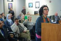 Elisa Swartz, a former McKinney ISD parent and employee, was among those who spoke at the school board meeting Tuesday.(Ron Baselice/Staff Photographer)