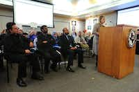 Rebecca Young was one of those who spoke at the McKinney ISD school board meeting Tuesday.(Ron Baselice/Staff Photographer)