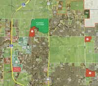Green Brick Partners' new Frisco projects marked in red and numbered 1 through 3 will be valued at about $500 million when finished.(Green Brick Partners)