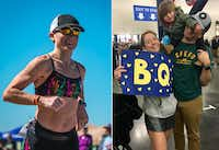 Brandi Swicegood (left) during the run portion of the Longhorn Ironman 70.3 in Austin in October 2017, and (right) celebrating her Boston-qualifying finish time at the Chevron Houston Marathon on Jan. 14, 2018, with husband Travis and daughter Adaline.