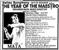 An ad from the Sept. 24,  1977<i> Dallas Morning News </i>for the concert that would feature the debut of the Dallas Symphony Chorus.(Dallas Morning News)