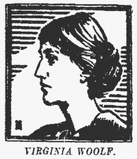Illustration of Virginia Woolf that accompanied the review of her novel <i>To the Lighthouse</i> in the May 22, 1927, edition of <i>The Dallas Morning News</i>