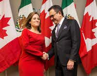 Canada's Minister of Foreign Affairs Chrystia Freeland poses for a photo before holding a bilateral meeting with Mexico's Secretary of Economy Ildefonso Guajardo Villarreal in Toronto on Monday, Jan. 22, 2018(Michelle Siu/The Canadian Press)