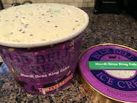 Mardi Gras King Cake Blue Bell is cinnamon ice cream with with pastry pieces, candy sprinkles and a cream cheese swirl.(Special Contributor/Sheila Ferran)
