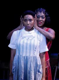 Adrianna Hicks as Celie (left) and Carla R. Stewart as Shug Avery perform in Dallas Summer Musicals <i>The Color Purple</i> at  Music Hall at Fair Park, Wednesday. The show runs through Feb.&nbsp; 4.&nbsp;&nbsp;(Ron Baselice/Staff Photographer)