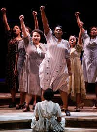 "Carrie Compere as Sofia, center, leads the song ""Hell No!"" with fellow cast members in <i>The Color Purple</i> at Music Hall at Fair Park on Wednesday&nbsp;(Ron Baselice/Staff Photographer)"