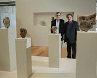 Thomas Wynn, left, a professor of anthropology at the University of Colorado and West Coast artist Tony Berlant at the Nasher 'First Sculpture' exhibit in Dallas  (Ron Baselice/Staff Photographer)