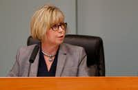 "<p>Plano ISD board president Missy Bender, shown at a November board meeting, said property tax relief, school finance reform and transparency in taxation are among the board's priorities. ""We agree that school districts should be allowed to provide property tax relief to taxpayers,"" she said.</p>(Nathan Hunsinger/Staff Photographer)"