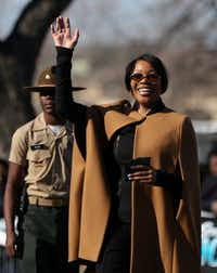 Dallas Police Chief U. Renee Hall waves to crowds during the Martin Luther King, Jr. Parade on Martin Luther King, Jr. Day in Dallas on Monday, Jan. 15, 2018. (Rose Baca/Staff Photographer)