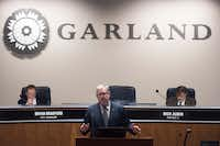 Garland Mayor Douglas Athas speaks before the start of the city council meeting on Tuesday, Jan. 9, 2018.(Rex C Curry)