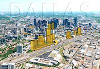 A proposed site plan for Amazon HQ2 in Victory Park proposed by a group of real estate companies led by Hillwood Urban and Hunt Realty Investments.(Debra Hale)