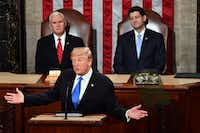 President Donald Trump delivers the State of the Union address at the Capitol in Washington, DC, on Jan. 30, 2018. (Nicholas Kamm/AFP/Getty Images)