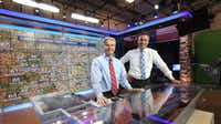 David Finfrock (left) and Rick Mitchell work together on forecasts, graphics and more to give North Texas viewers the complete weather picture. (Louis DeLuca/Staff Photographer)