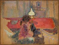 "<p><span style=""font-size: 1em; background-color: transparent;"">Pierre Bonnard, </span><em style=""font-size: 1em; background-color: transparent;"">Woman with a Lamp</em><span style=""font-size: 1em; background-color: transparent;"">, 1909, oil on paper, mounted on board, Dallas Museum of Art, gift of Ann Jacobus Folz, 2017.44.2</span></p>(Brad Flowers/Dallas Museum of Art)"