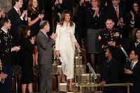 First lady Melania Trump arrives before the State of the Union address to a joint session of Congress on Capitol Hill in Washington, Jan. 30, 2018. (AP Photo/J. Scott Applewhite)(J. Scott Applewhite/AP)
