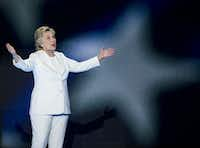 Democratic presidential candidate Hillary Clinton takes the stage during day four of the Democratic National Convention on Tuesday, July 27, 2016 at the Wells Fargo Center in Philadelphia, Pa. (Ashley Landis/The Dallas Morning News)