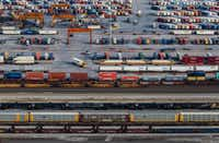 An aerial view of BNSF's massive rail yard at AllianceTexas in Fort Worth. (Ashley Landis/Staff Photographer)