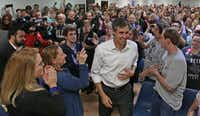 El Paso Rep. Beto O'Rourke, who is challenging Ted Cruz for his Senate seat, arrived at a town hall meeting at the Plumbers & Pipefitters Union Hall on West Miller Road in Garland on Jan. 26, 2018.(Louis DeLuca/Staff Photographer)