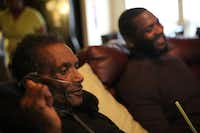 Johnnie Lindsey visited with fellow exoneree Christopher Scott at Lindsey's home last Saturday.(Rose Baca/Staff Photographer)