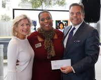 Camille Grimes, executive director, The Dallas Morning News Charities, from left, Nicole Bursey, executive director of Frisco Family Services Center and Richard Jones, chairman of DMN Charities, pose during the Dallas Morning News Charities kick-off event at the Winspear Opera House on Nov. 15, 2017.  (David Woo/Staff Photographer)