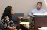 Sini and Wesley Mathew, parents of Sherin Mathews, waited in a courtroom during their child custody hearing at the Henry Wade Juvenile Justice Building on Nov. 29, 2017. (David Woo/Staff Photographer)