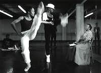 Ann Williams (far right) watches with pleasure as dancers for the Dallas Black Dance Theatre rehearse for <i>Porgy and Bess</i> in 1990.(Judy Walgren/The Dallas Morning News)