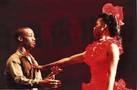 Patricia Price is Carmen and Derrick Brown is Joe in the Dallas Black Dance Theatre's version of Carmen Jones in 1984. (The Dallas Morning News)