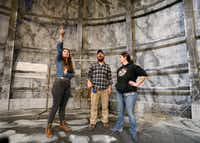 SMU graduate student Amelia Bransky (left) talks with technical director Matt Norman (center) and master electrician Nicole Iannaccone onstage at Kalita Humphreys Theater in Dallas. She designed the set of <i>Frankenstein</i>.&nbsp;(Jae S. Lee/Staff Photographer)