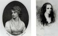 Mary Wollstonecraft (left) is shown in an engraving, beside Mary Shelley, her daughter, who is portrayed in an etching. Wollstonecraft (1759-97) was a pioneer feminist writer, and Shelley (1797-1851) wrote <i>Frankenstein</i>.(The Associated Press)