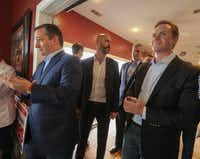 U.S. Sen. Ted Cruz (left) and Jason Wright, running for the 5th Congressional District seat, waited to be introduced during a campaign stop for Wright at Alfredo's Steakhouse in Forney on Feb. 3, 2018.(Ron Baselice/Staff Photographer)