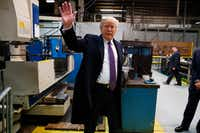 President Donald Trump participates in a tour of Sheffer Corporation during a visit to promote his tax policy.(Evan Vucci/AP)