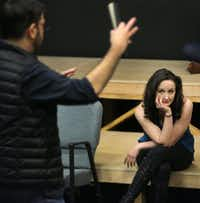 Director Jason O'Connell (left) and actress Kate Hamill rehearse <i>Cyrano </i>at Amphibian Stage Productions in Fort Worth.(Louis DeLuca/Staff Photographer)