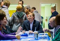 Gubernatorial candidate Andrew White talks with supporters at The Mid-Cities Democrats Gubernatorial Forum and Chili Dinner on Tuesday at the UAW 218 Union Hall in Hurst. (Ashley Landis/Staff Photographer)