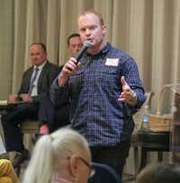 District 5 candidate Sam Deen answers a question at the First Ladies Republican Women's Club candidate forum at the Dallas Athletic Club.(Ron Baselice/Staff Photographer)