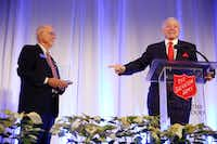 Dallas Cowboys owner and general manager Jerry Jones received the The Robert Power Award from Ed McCarty, advisory council chairman for the Salvation Army of Irving, during the Salvation Army of Irving's annual Super Lunch in at the Irving Convention Center in December.(Nathan Hunsinger/Staff Photographer)