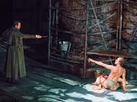 Alex Organ (left) plays Victor Frankenstein and Kim Fischer (right) plays the Creature in the Dallas Theater Center's production of <i>Frankenstein</i>.(Robert W. Hart/Special Contributor)