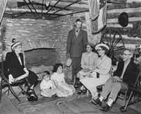 "<br>(<p><span style=""font-size: 1em; background-color: transparent;"">Direct descendants of John Neely Bryan gathered in the 1950s in the reconstructed cabin, which pays tribute to the founder of Dallas.</span></p>)"