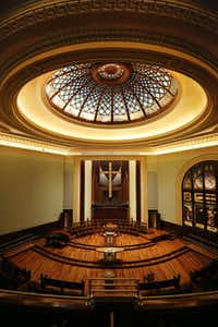 The dome and sanctuary of First Presbyterian Church of Dallas. Renovations included reconfiguring the floor, installing new pews, installing new HVAC and sound systems and organ maintenance, among other tasks.(Andy Jacobsohn/Staff Photographer)