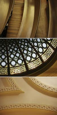 Details within the sanctuary include (from top) the new wooden pews, stained glass in the dome and ornate moldings on the ceiling.(Andy Jacobsohn/Staff Photographer)