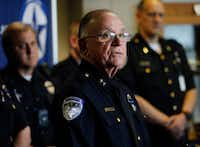 Richardson Police Department Chief of Police Jimmy Spivey talks at a press conference at police headquarters on Thursday. Richardson police officer David Sherrard was fatally shot Wednesday night at an apartment complex. (David Woo/Staff Photographer)