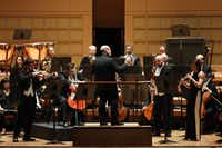 Jaap van Zweden conducts the Dallas Symphony Orchestra with soloists Nathan Olson, violin (left), Theodore Harvey, cello (center left), Ted Soluri, bassoon (center right) and Erin Hannigan, oboe (right) at the Meyerson Symphony Center Feb. 8, 2018.  (Allison Slomowitz/Special Contributor)