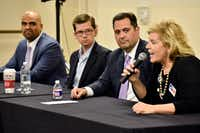 Collin Allred (from left) Ed Meier, George Rodriguez and Lillian Salerno all candidates for the 32nd US Congressional District speak during a community forum hosted by The Preston Hollow Democrats on Nov. 09, 2017 at the Walnut Hill Recreation Center in Dallas.(Ben Torres/Special Contributor)
