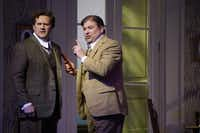 Paul Groves as Wilhelm Arndt and Craig Colclough as Peter Vogel, in the Dallas Opera dress rehearsal of Erich Wolfgang Korngold's <i>The Ring of Polykrates</i>, at the Winspear Opera House in Dallas.(Lawrence Jenkins/Special Contributor)