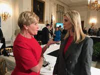 Fort Worth Mayor Betsy Price meets with Ivanka Trump at the White House after President Donald Trump unveiled his infrastructure plan on Monday, Feb. 12, 2018. (Courtesy of Office of Betsy Price.)