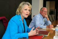 State Rep. Cindy Burkett, R-Sunnyvale, answers questions as state Sen. Bob Hall, R-Edgewood, listens at The Dallas Morning News. Burkett is challenging Hall for his state senate seat. (Vernon Bryant/Staff Photographer)