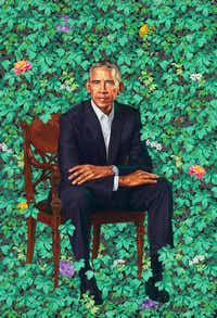 Former President Barack Obama's portrait by Kehinde Wiley, oil on canvas, unveiled at the National Portrait Gallery in Washington(Kehinde Wiley/The Washington Post)